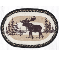 Moose Silhouette Oval Braided Rug | Capitol Earth Rugs | OP-313