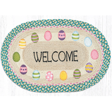 Spring Welcome Oval Braided Rug | Capitol Earth Rugs | OP-328