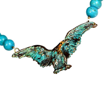 Eagle Verdigris Patina Solid Brass Turquoise Necklace | Elaine Coyne Jewelry | ECGEP2N