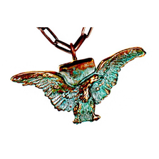 Eagle Verdigris Patina Brass Pendant Copper Chain Necklace | Elaine Coyne Jewelry