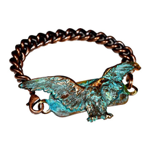 Eagle Verdigris Patina Solid Brass Rockband Bracelet | Elaine Coyne Jewelry