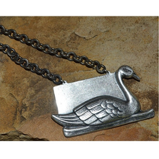 Swan Antique Silver Pendant on Silver Chain | Elaine Coyne Jewelry
