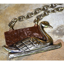 Swan Neo Victorian Hand Forged Copper Antique Pendant | Elaine Coyne Jewelry