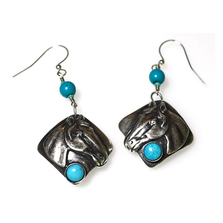 Horse Head Antique Silver Brass Turquoise Wire Earrings | Elaine Coyne Jewelry | ECGEQAS824ETU