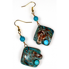 Horse Head Verdigris Patina Brass Turquoise Wire Earrings | Elaine Coyne Jewelry | ECGEQP824ETU