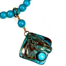 Horse Head Verdigris Patina Brass Turquoise Necklace   Elaine Coyne Jewelry   ECGEQP824NTU