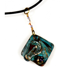 Horse Head Verdigris Patina Brass Necklace | Elaine Coyne Jewelry | ECGEQP824PDCRPA