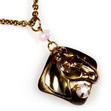 Horse Head Rose Opal Crystals Necklace   Elaine Coyne Jewelry   ECGEQB824NCR