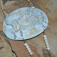 Buffalo White Patina Brass Rawhide Necklace | Elaine Coyne Jewelry | BW916N