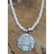 Buffalo White Patina Brass Necklace | Elaine Coyne Jewelry | BW8477N