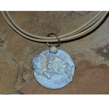 Buffalo White Patina Brass Riverstone Necklace | Elaine Coyne Jewelry | BW8477PD
