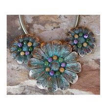 Zinnia Flower Verdigris Brass Pendant Necklace | Elaine Coyne Jewelry | ECGNAP884N