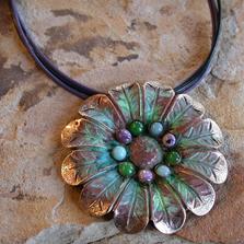 Zinnia Brass Pendant Necklace | Elaine Coyne Jewelry | ECGNAP849PD