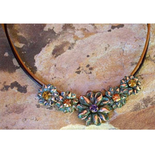 Flowers Patina Solid Brass Necklace | Elaine Coyne Jewelry | ECGNAO921N
