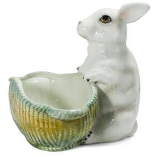 Bunny with Basket Ceramic Sculpture | Intrada Italy | ANI2330