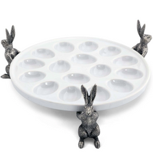 Rabbit Stoneware Deviled Egg Tray | G303RT | Vagabond House
