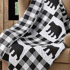 Black Bear Buffalo Plaid Primitive Quilted Throw Blanket | DQT690