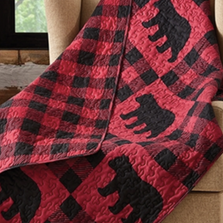 Black Bear Red Buffalo Plaid Primitive Quilted Throw Blanket | DQT680