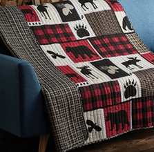 """Bear Moose """"Lodge Life"""" Primitive Quilted Throw Blanket 