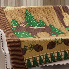Moose Wilderness Patchwork Quilted Throw Blanket | DQT677