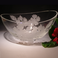Hibiscus Oval Crystal Bowl | Evergreen Crystal