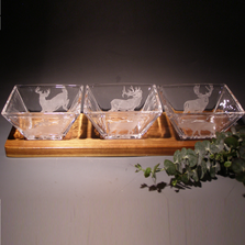 Deer Elk Crystal Hors d'Oeuvre Tray | Evergreen Crystal