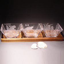 Sea Life Crystal Hors d'Oeuvre Tray, Evergreen Crystal