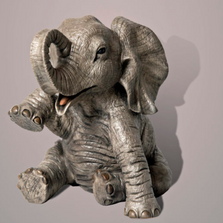 "Baby Elephant Bronze Sculpture ""Gaia"" 