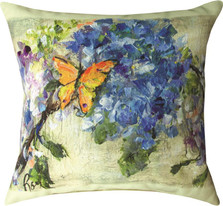 Yellow Butterfly Flowers Indoor Outdoor Throw Pillow | SLSYBF