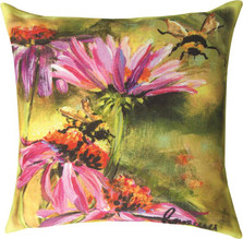 Bee on Cornflower Indoor Outdoor Throw Pillow | SLSBOC