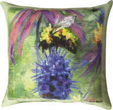 Bumblebee on Purple Flower Indoor Outdoor Throw Pillow | SLSBOP