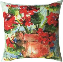 Geranium Flower Pot Indoor Outdoor Throw Pillow | SLSGER