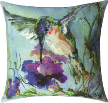 Hummingbird Purple Flowers Indoor Outdoor Throw Pillow | SLSWPF