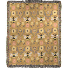 "Bees Mini Tapestry Throw Blanket ""Honey and Hive"" 