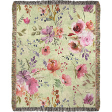 Farmhouse Romance Floral Mini Tapestry Throw Blanket | Manual Woodworkers | ATFHR