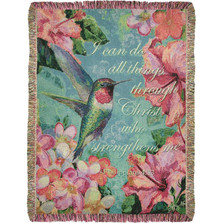 Hummingbird Hibiscus with Verse Tapestry Throw Blanket | Manual Woodworkers | ATHHWV