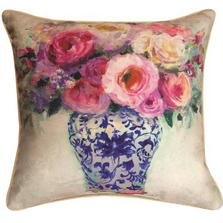 Chinoiserie Pink Roses Reversible Throw Pillow | SLPCPR