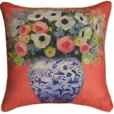 Chinoiserie Roses Peach and Green Reversible Throw Pillow | SLPCGP