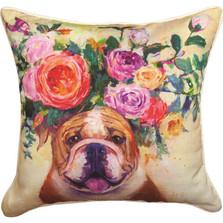 Dogs in Bloom Bulldog Throw Pillow | SLDIBBD
