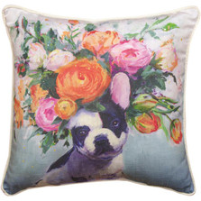 Dogs in Bloom French Bulldog Floral Throw Pillow | SLDIBFB