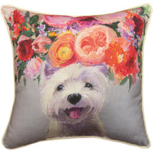 Dogs in Bloom Westie Floral Throw Pillow | SLDIBW