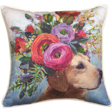 Dogs in Bloom Labrador Floral Throw Pillow | SLDIBL