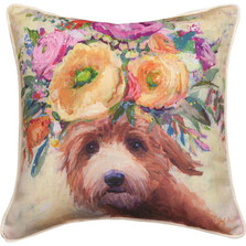 Dogs in Bloom Golden Doodle Floral Throw Pillow | SLDIBO
