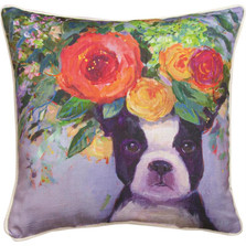Dogs in Bloom Boston Terrier Floral Throw Pillow | SLDIBB