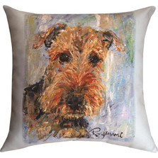 "Airedale ""Pet Love"" Indoor/Outdoor Throw Pillow 