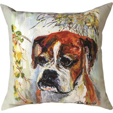 "Boxer ""Pet Love"" Indoor/Outdoor Throw Pillow 