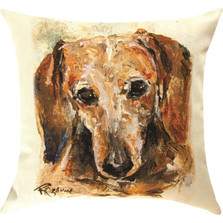 "Wendell Dachshund ""Pet Love"" Indoor/Outdoor Throw Pillow 
