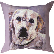 "Yellow Lab Marley ""Pet Love"" Indoor/Outdoor Throw Pillow 