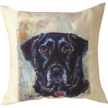 "Black Lab ""Pet Love"" Indoor/Outdoor Throw Pillow 
