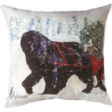 "Newfoundland ""Pet Love"" Indoor/Outdoor Throw Pillow 